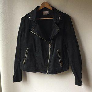 H&M Black Denim Moto Jacket